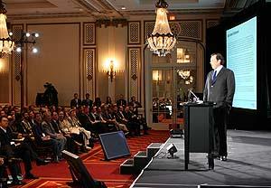 Mark Benioff, CEO y fundador de Salesforce.com en una reunión de usuarios en San Francisco, USA