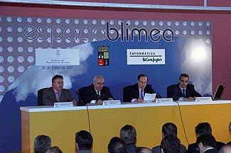 Ignacio Fernández, Vicente Álvarez Areces, Florencio Lasaga y Emilio Gil en la inauguración