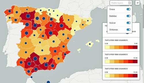 El mapa demuestra el potencial que tienen herramientas como Big Data y geolocalización para conocer la conversación social sobre salud y hábitos - Fuente: Tecnilógica