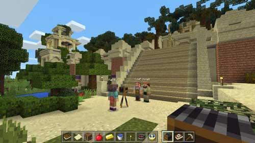 Entre las funcionalidades de la versión Education Edition está la app Classroom Mode, que muestra una vista del mapa del mundo Minecraft
