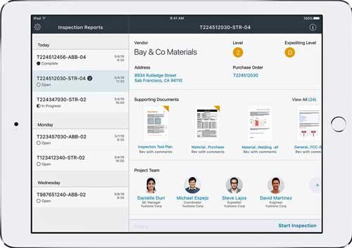 Con la app Materials Inspect en el iPad, los inspectores de Técnicas Reunidas tendrán acceso a documentos técnicos e información de transacciones