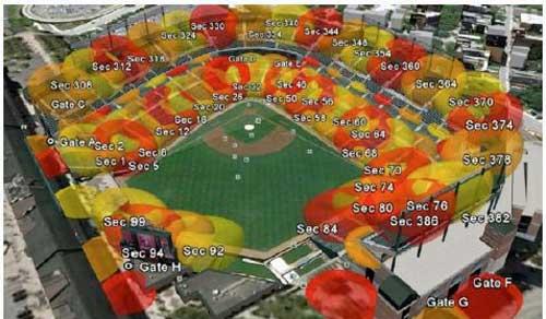 Análisis de la cobertura WiFi en un estadio