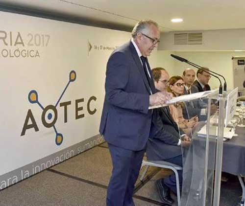 Antonio García Vidal durante la inauguración de la Feria Tecnológica AOTEC de 2017 - Foto: AOTEC
