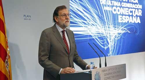 El presidente del Gobierno, Mariano Rajoy, durante su intervención en el acto de presentación del nuevo Plan de Extensión de la Fibra Óptica, en Teruel - Foto: Moncloa/Diego Crespo