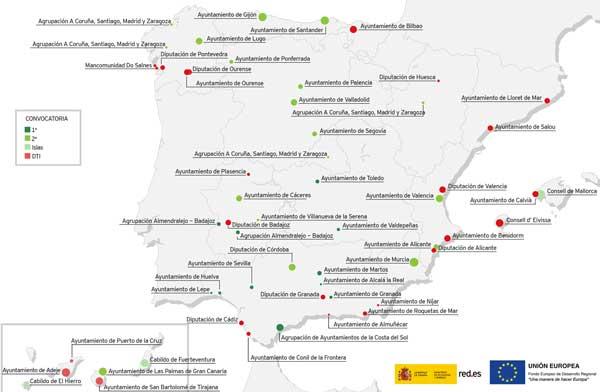 Mapa de las entidades beneficiarias en la convocatoria Ciudades, Islas y Destinos Turísticos Inteligentes