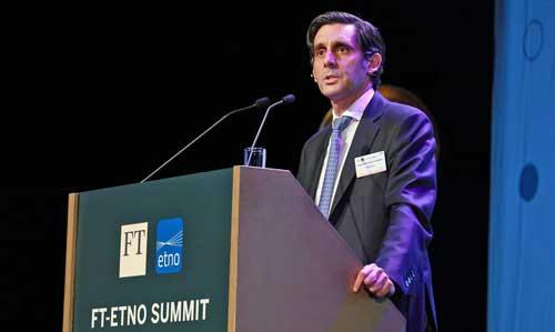 El presidente ejecutivo de Telefónica, José María Álvarez-Pallete, en la edición 2018 del encuentro FT-ETNO Summit