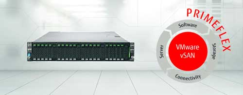 Fujitsu PRIMEFLEX para VMware vSAN es una solución de infraestructura extremo a extremo basada en servidores PRIMERGY x86 y optimizada para SAP HANA