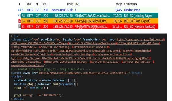 RIG tratando de infectar un equipo con diferentes payloads - Fuente: CCN-CERT