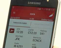 La app CORA en un dispositivo Samsung