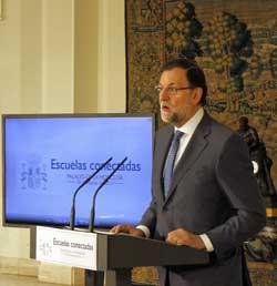 Mariano Rajoy durante la presentación del convenio